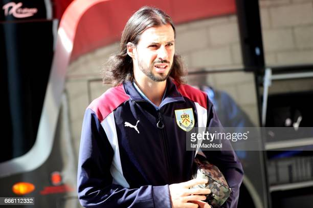 George Boyd of Burnley arrives at the stadium prior to the Premier League match between Middlesbrough and Burnley at Riverside Stadium on April 8...