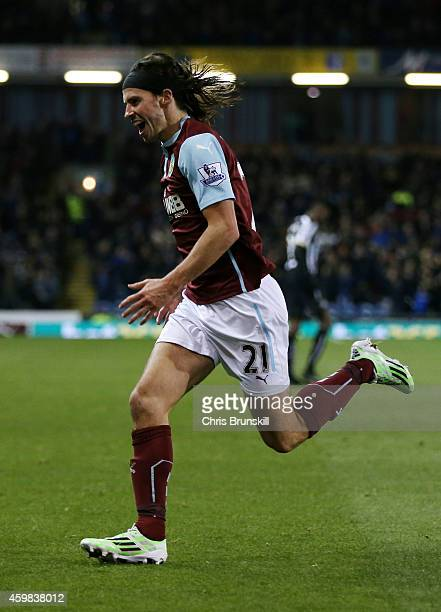 George Boyd of Burnley celebrates after scoring the opening goal during the Barclays Premier League match between Burnley and Newcastle United at...
