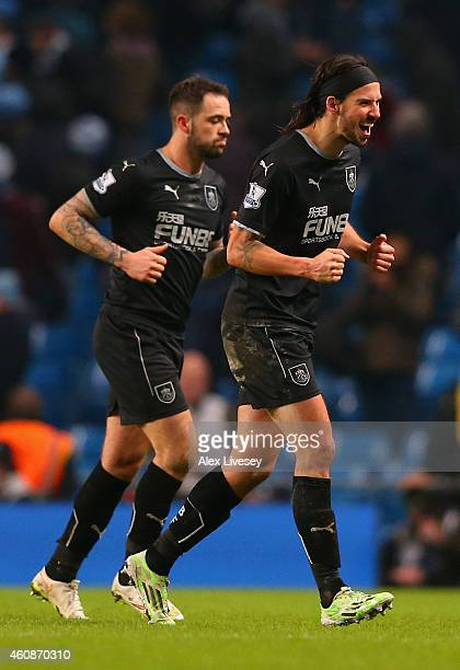 George Boyd of Burnley celebrates during the Barclays Premier League match between Manchester City and Burnley at Etihad Stadium on December 28 2014...