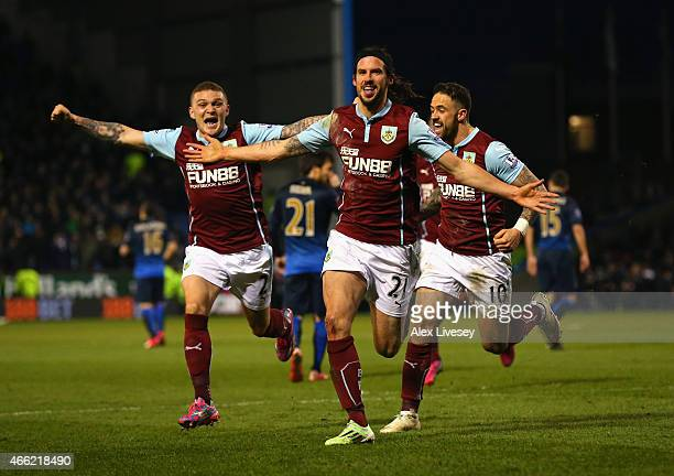 George Boyd of Burnley celebrates scoring the opening goal during the Barclays Premier League match between Burnley and Manchester City at Turf Moor...