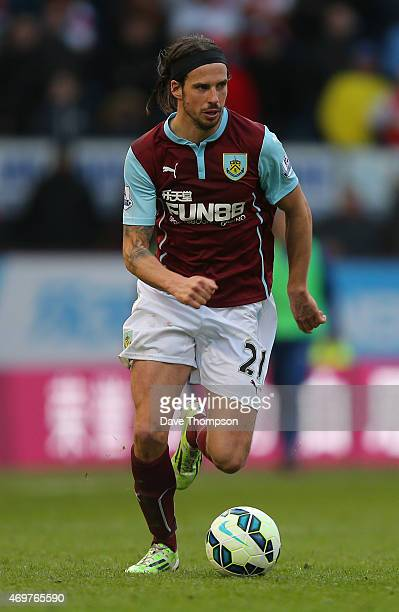 George Boyd of Burnley during the Barclays Premier League match between Burnley and Arsenal at Turf Moor on April 11 2015 in Burnley England