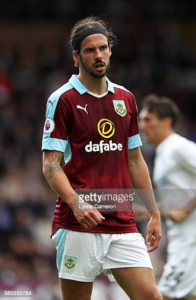 George Boyd of Burnley during the Premier League match between Burnley and Cardiff City at Turf Moor on August 13 2016 in Burnley England