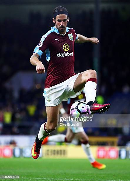 George Boyd of Burnley in action during the Premier League match between Burnley and Watford at Turf Moor on September 26 2016 in Burnley England