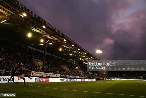 George Boyd of Burnley takes a corner kick during the Barclays Premier League match between Burnley and Hull City at Turf Moor on November 08 2014 in...