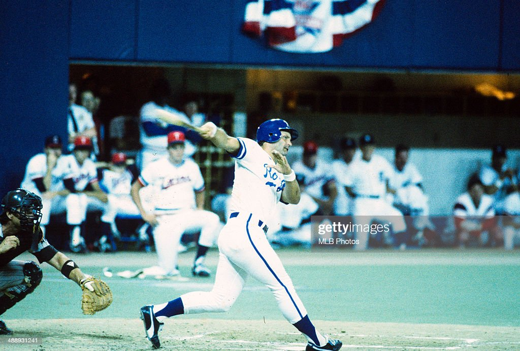 George Brett #5 of the Kansas City Royals bats during the 56th MLB All-Star Game against the National League at the Hubert H. Humphrey Metrodome, on Tuesday, 16, 1985 in Minneapolis, Minnesota.