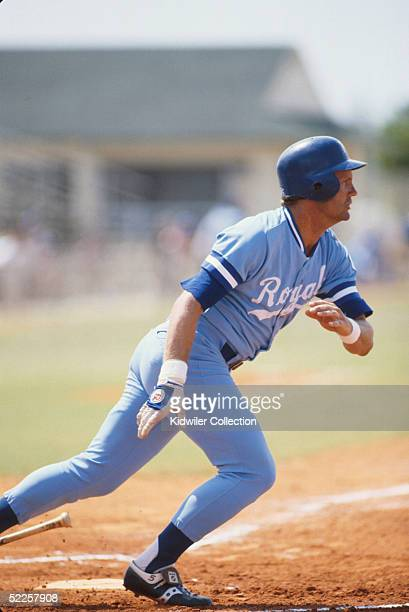 George Brett of the Kansas City Royals watches the flight of the ball he just hit during Spring Training in Florida in 1978