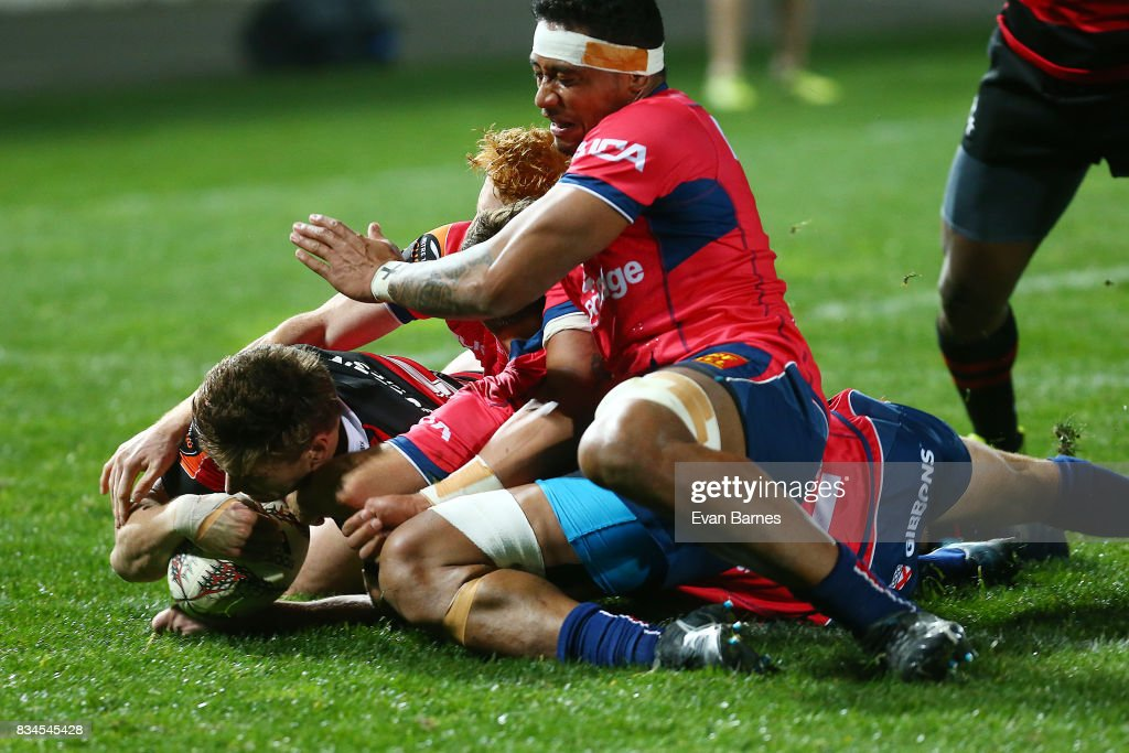 George Bridge of Canterbury scores the first try during the Mitre 10 Cup round one match between Tasman and Canterbury at Trafalgar Park on August 18, 2017 in Nelson, New Zealand.