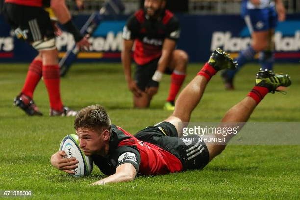 George Bridge of the Canterbury Crusaders scores a try during the Super Rugby match between New Zealand's Canterbury Crusaders and South Africa's...