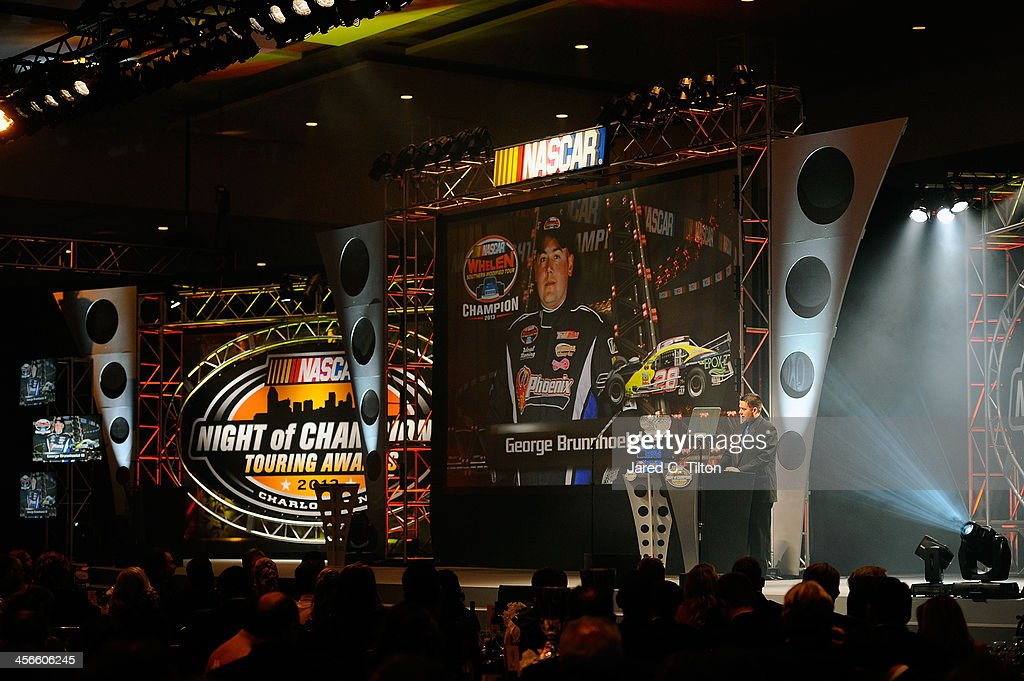 George Brunnhoelzl III, NASCAR Whelen Southern Modified Series Champion, speaks during the NASCAR Night of Champions at Charlotte Convention Center on December 14, 2013 in Charlotte, North Carolina.
