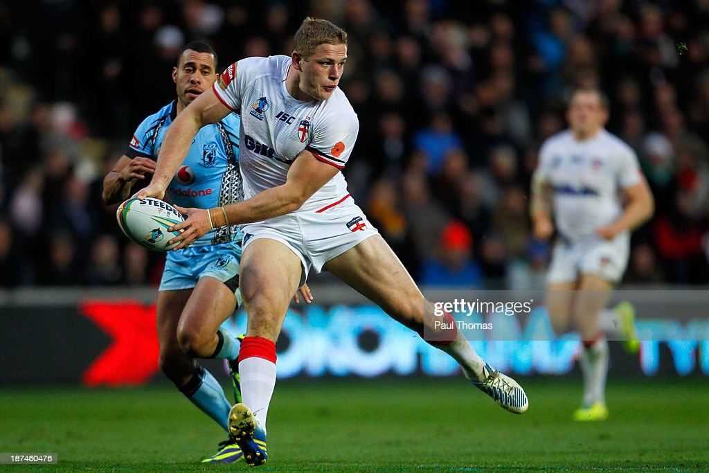 George Burgess of England in action during the Rugby League World Cup Group A match at the KC Stadium on November 9, 2013 in Hull, England.