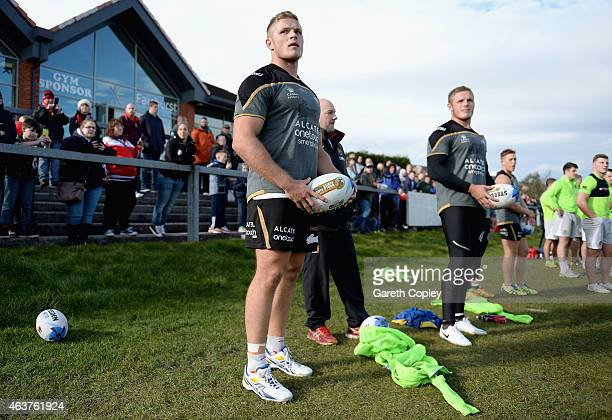 George burgess of South Sydney Rabbitohs alongside brother Tom during a training session at Orrell Rugby Union Club on February 18 2015 in Wigan...