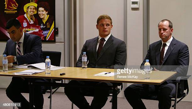 George Burgess of South Sydney Rabbitohs and his coach Michael Maguire are seated as George faces the NRL judiciary hoping to have his grade two...