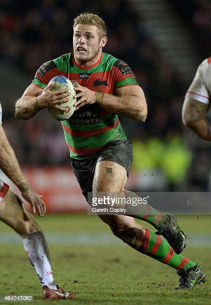 George Burgess of South Sydney Rabbitohs in action during the World Club Series match between St Helens and South Sydney Rabbitohs at Langtree Park...