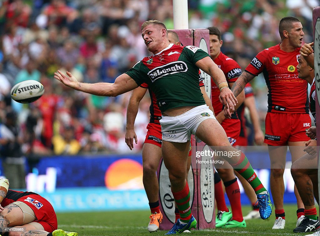 George Burgess of Souths celebrates his try during the NRL Charity Shield match between the South Sydney Rabbitohs and the St George Dragons at WIN Stadium on February 22, 2014 in Wollongong, Australia.