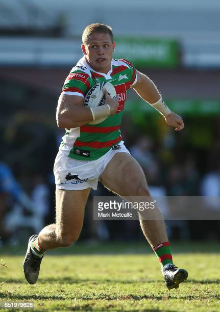 George Burgess of the Rabbitohs in action during the round two NRL match between the Manly Sea Eagles and the South Sydney Rabbitohs at Lottoland on...