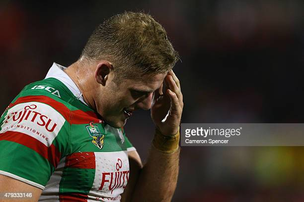 George Burgess of the Rabbitohs looks dejected after losing the round 17 NRL match between the Penrith Panthers and the South Sydney Rabbitohs at...
