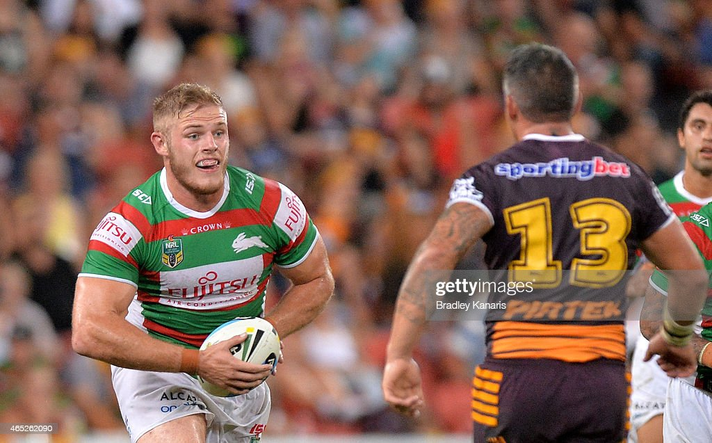 George Burgess of the Rabbitohs looks to take on the defence during the round one NRL match between the Brisbane Broncos and the South Sydney Rabbitohs at Suncorp Stadium on March 5, 2015 in Brisbane, Australia.