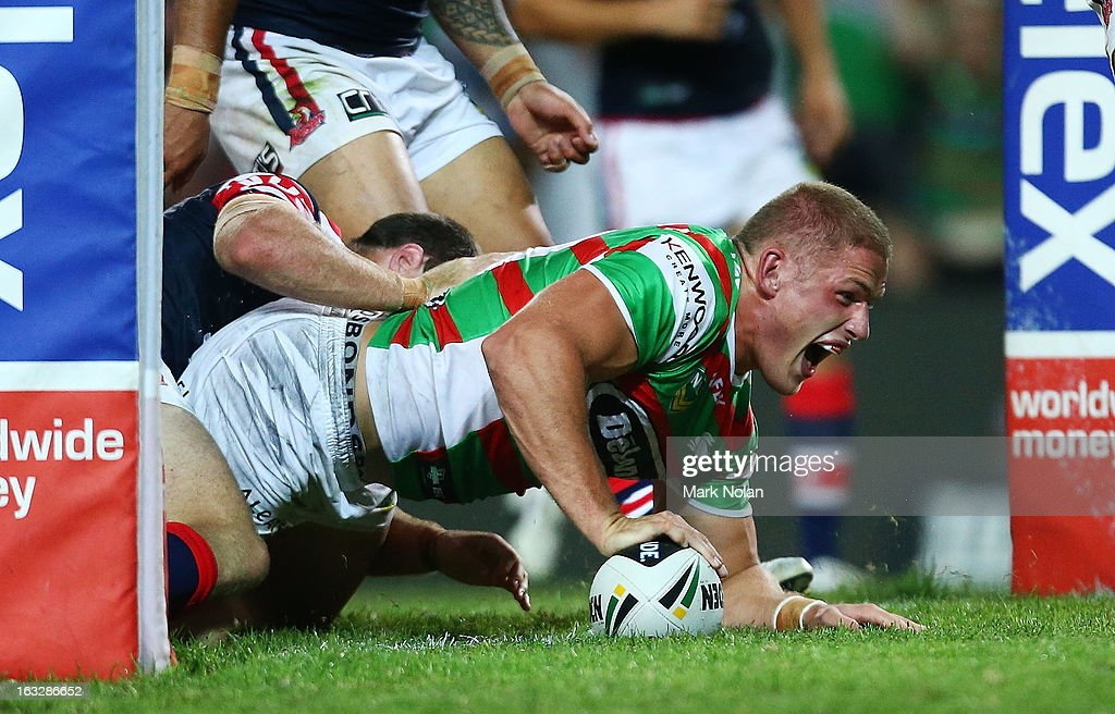George Burgess of the Rabbitohs scores during the round one NRL match between the Sydney Roosters and the South Sydney Rabbitohs at Allianz Stadium on March 7, 2013 in Sydney, Australia.