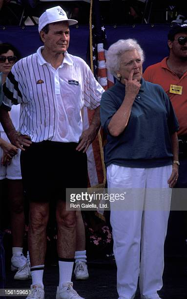 George Bush and Barbara Bush attend Chris Evert Celebrity Tennis Classic on October 29 1994 in Boca Raton Florida