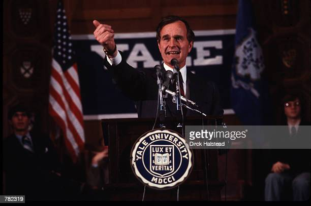George Bush speaks at Yale University March 1 1980 in New Haven Connecticut Bush graduated with a BA in Economics in 1948