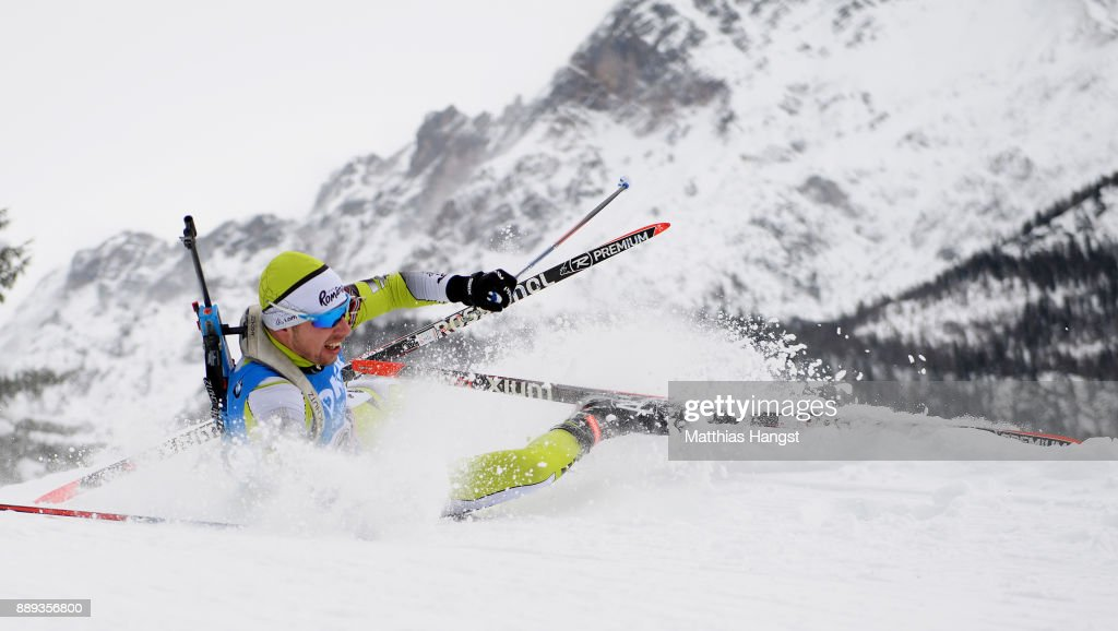 George Buta of Romania crashes during the Men's 4x7.5km relay competition of the BMW IBU World Cup Biathlon on December 10, 2017 in Hochfilzen, Austria.