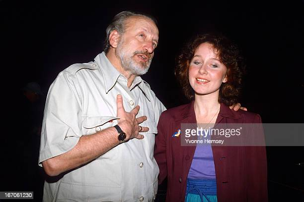 George C Scott and Kate Burton are photographed at a rehearsal of 'Present Laughter' June 3 1982 in New York City Scott directs and stars along with...