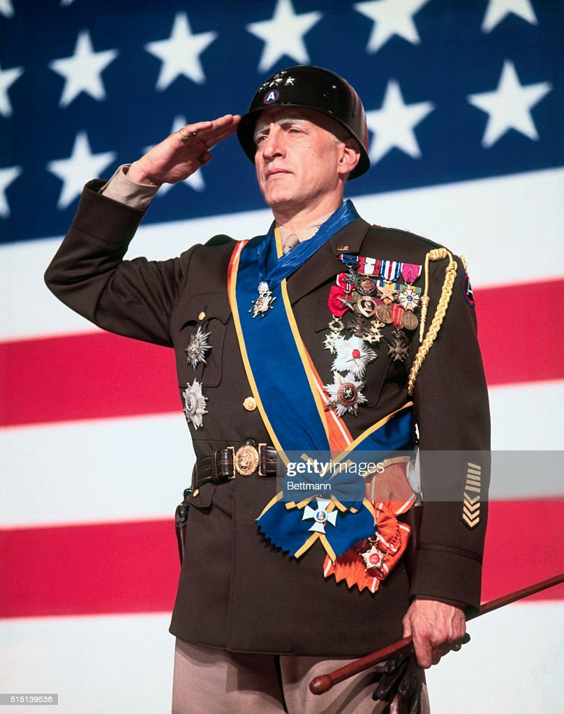 George C Scott nominated for 'Best Actor of 1970' in the 43rd Academy Awards competition for his role in Patton is shown as World War II General...
