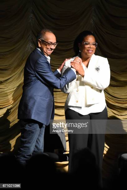George C Wolfe and Oprah Winfrey attend the Film Independent at LACMA Special Screening and QA of 'The Life Of Henrietta Lacks' at Bing Theatre At...