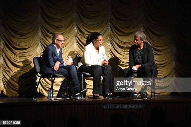 George C Wolfe Oprah Winfrey and Elvis Mitchell attend the Film Independent at LACMA Special Screening and QA of 'The Life Of Henrietta Lacks' at...
