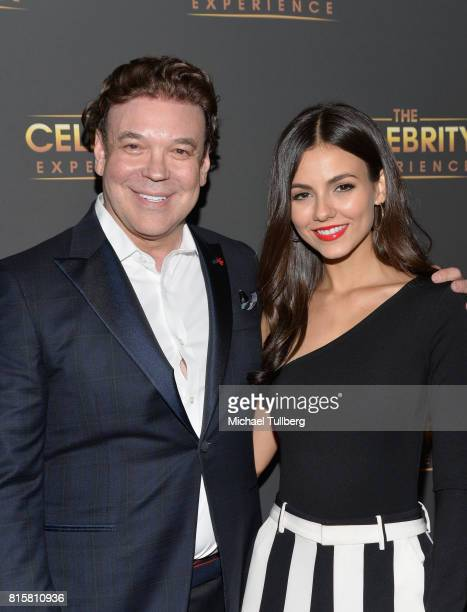 George Caceres and actress Victoria Justice attend 'The Celebrity Experience' interactive event at Hilton Universal Hotel on July 16 2017 in Los...