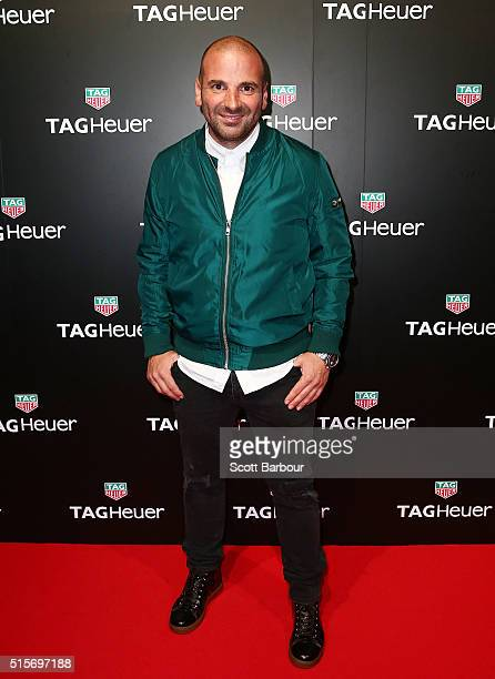 George Calombaris attends the TAG Heuer Grand Prix Party at Luminare on March 15 2016 in Melbourne Australia The party was held to celebrate the new...