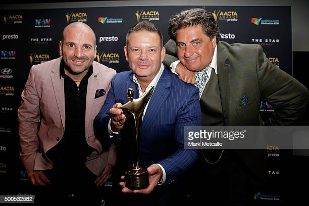 George Calombaris Gary Mehigan and Matt Preston pose win the AACTA for Best Reality Television Series during the 5th AACTA Awards Presented by Presto...