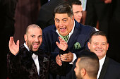 George Calombaris Matt Preston and Gary Mehigan gesture as they arrive at the 58th Annual Logie Awards at Crown Palladium on May 8 2016 in Melbourne...