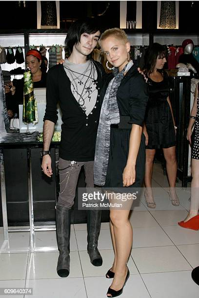 George Camany and Mena Suvari attend ECHO debut of MENA SUVARI'S original silk scarf collection at Bloomingdale's Uptown on September 7 2007 in New...