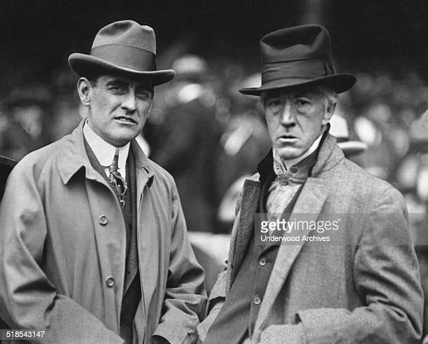 George Christian Jr Secretary to President Harding and Baseball Commissioner Judge Kenesaw Mountain Landis at the fourth game of the World Series at...