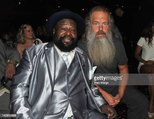 George Clinton and Rick Rubin attend the 27th Annual Rock And Roll Hall Of Fame Induction Ceremony at Public Hall on April 14 2012 in Cleveland Ohio