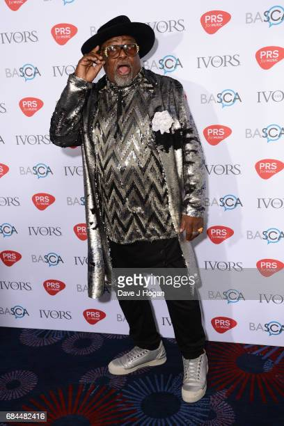 George Clinton poses in the winners room at the Ivor Novello Awards at Grosvenor House on May 18 2017 in London England
