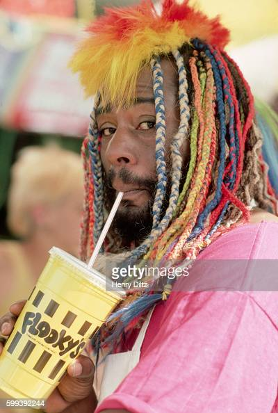 George Clinton stops for a drink during the filming of a music video in Van Nuys California