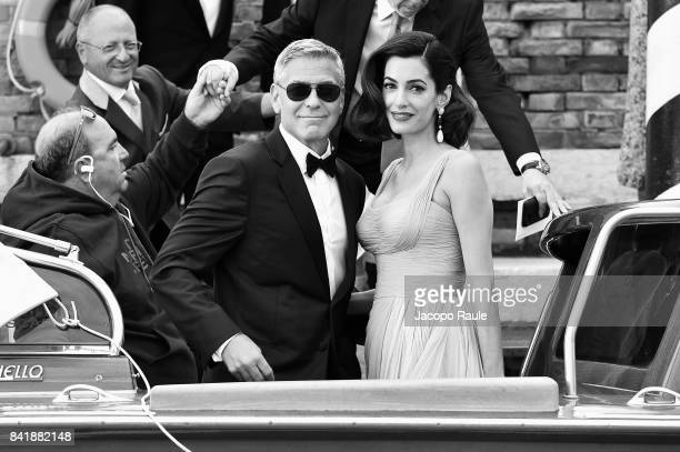 George Clooney and Amal Alamuddin are seen during the 74th Venice Film Festival on September 2 2017 in Venice Italy
