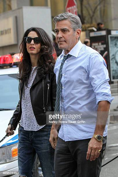 George Clooney and Amal Alamuddin Clooney are seen on the set of 'Money Monster' on April 12 2015 in New York City