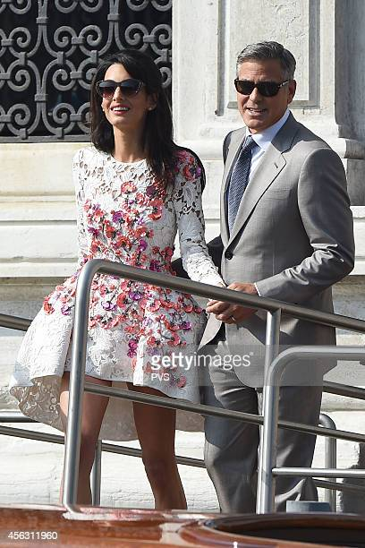 George Clooney and Amal Alamuddin leave the Aman Hotel on September 28 2014 in Venice Italy George Clooney is set to marry his lawyer fiancee Amal...