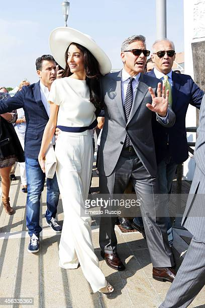 George Clooney and Amal Alamuddin sighting at Marco Polo Airport on September 29 2014 in Venice Italy