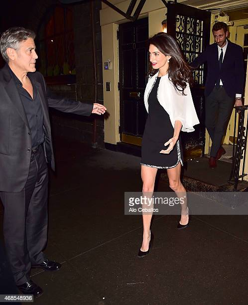 George Clooney and Amal Clooney are seen leaving Babbo Restaurant on April 3 2015 in New York City