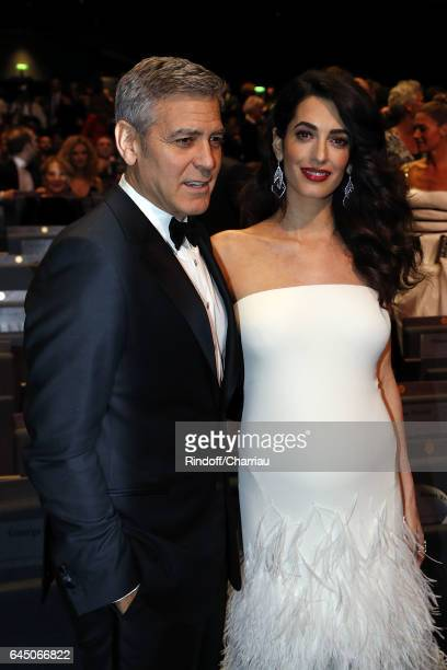 George Clooney and Amal Clooney attend Cesar Film Award 2017 at Salle Pleyel on February 24 2017 in Paris France