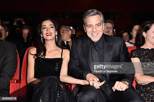 George Clooney and Amal Clooney attend the 'Hail Caesar' premiere during the 66th Berlinale International Film Festival Berlin at Berlinale Palace on...