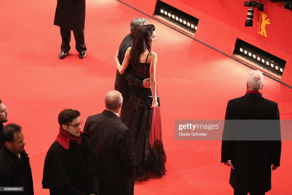 <a gi-track='captionPersonalityLinkClicked' href=/galleries/search?phrase=George+Clooney&family=editorial&specificpeople=202529 ng-click='$event.stopPropagation()'>George Clooney</a> and Amal Clooney attend the 'Hail, Caesar!' premiere during the 66th Berlinale International Film Festival Berlin at Berlinale Palace on February 11, 2016 in Berlin, Germany.