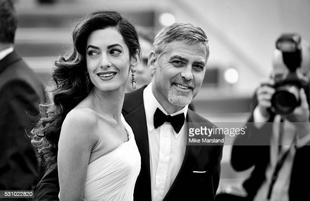 George Clooney and Amal Clooney attend the 'Money Monster' premiere during the 69th annual Cannes Film Festival at the Palais des Festivals on May 12...