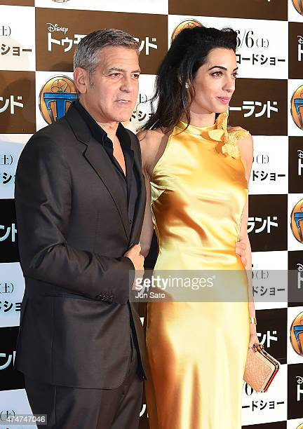 George Clooney and Amal Clooney attend the Tokyo premiere of 'Tomorrowland' at Roppongi Hills on May 25 2015 in Tokyo Japan