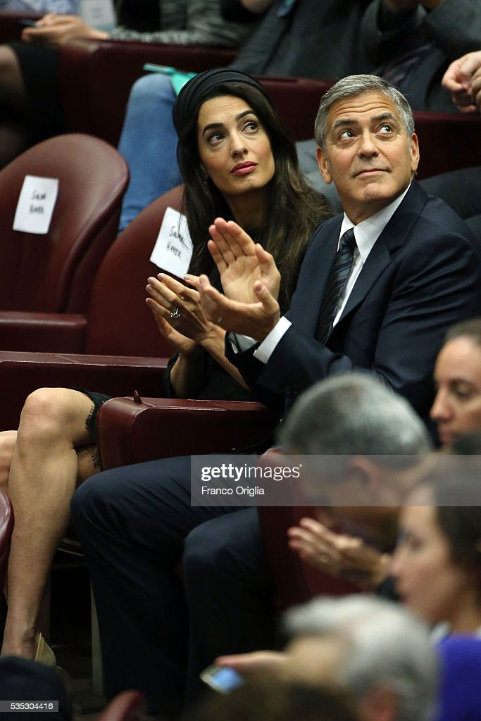 George Clooney and Amal Clooney attend 'Un Muro o Un Ponte' Seminary held by Pope Francis at the Paul VI Hall on May 29 2016 in Vatican City Vatican