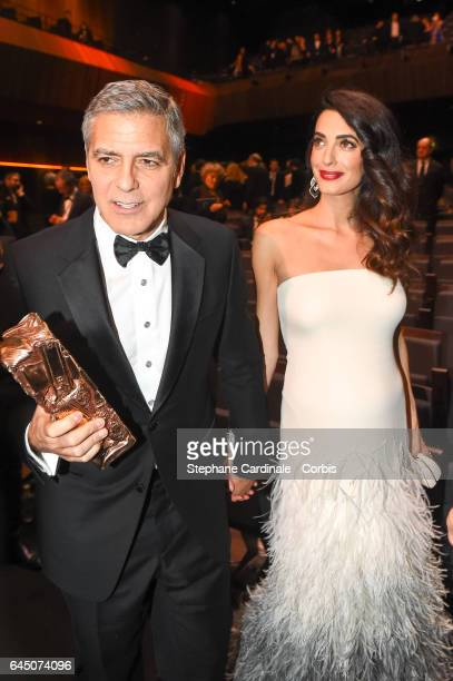 George Clooney and Amal Clooney during the Cesar Film Awards 2017 ceremony at Salle Pleyel on February 24 2017 in Paris France